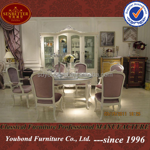 Y08 France neo-classic design wooden dining table and chairs