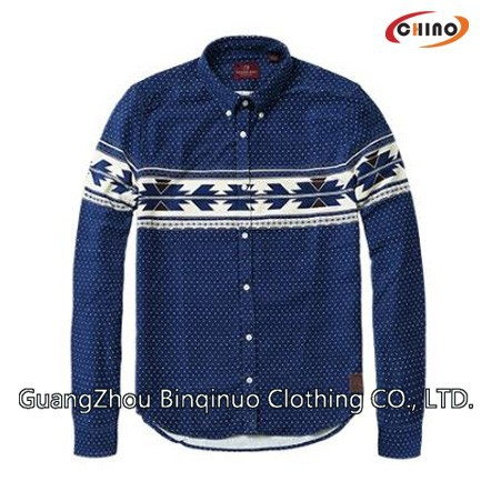 Blue Color Design Jeans Shirt for Men online shopping