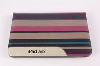 Stripe patern Business Style Leather Flip Cover Auto Wake/ Sleep Smart Case for ipad air 2