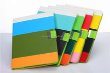 Multi-Color Stripe Leather Flip Cover Case for iPad 234 with Card Slot