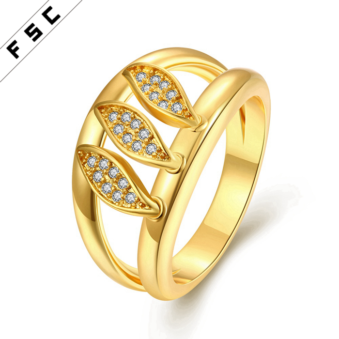 Popular hollow out the leaves pattern crystal diamond ring latest design gold plated