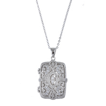Fashion cz diamond in 925 silver rectangle shaped locket pendant necklace