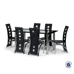 Dining Room Furniture Glass Dining Table 6 Chairs Set