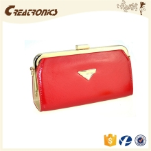 CR 80% customers repeat orders shining pu surface long chain women lock wallet red new luxury wine purse
