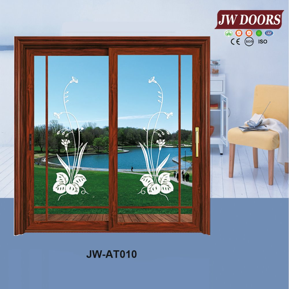 aluminum wood double glass sliding door garden