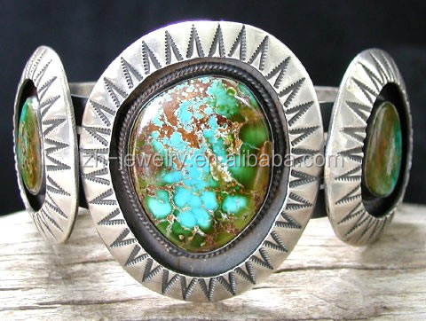 Metal Ethnic Tibetan Bangle Cuff Fashion Bracelets with Natural turquoise Wholesale
