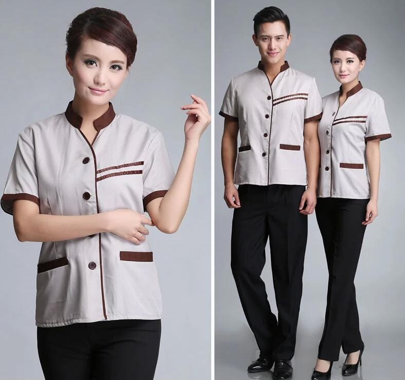 Comfortable wear resistant restautant unisex cleaning uniform for hotel