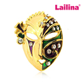 Masquerade Mask Crystal Brooch Pin Golden Tone Multicolor Mask Party Brooches Accessories Party Gifts