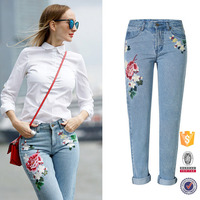 2017 new trendy casual ladies embroidered jeans