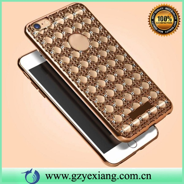 super luxury plating soft 3d agate pattern diamond cell phone case for iphone 6 plus back cover silicon gel