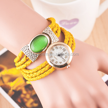 Multi Real Leather Wrap Simple Girl Watch with Changeable Strap
