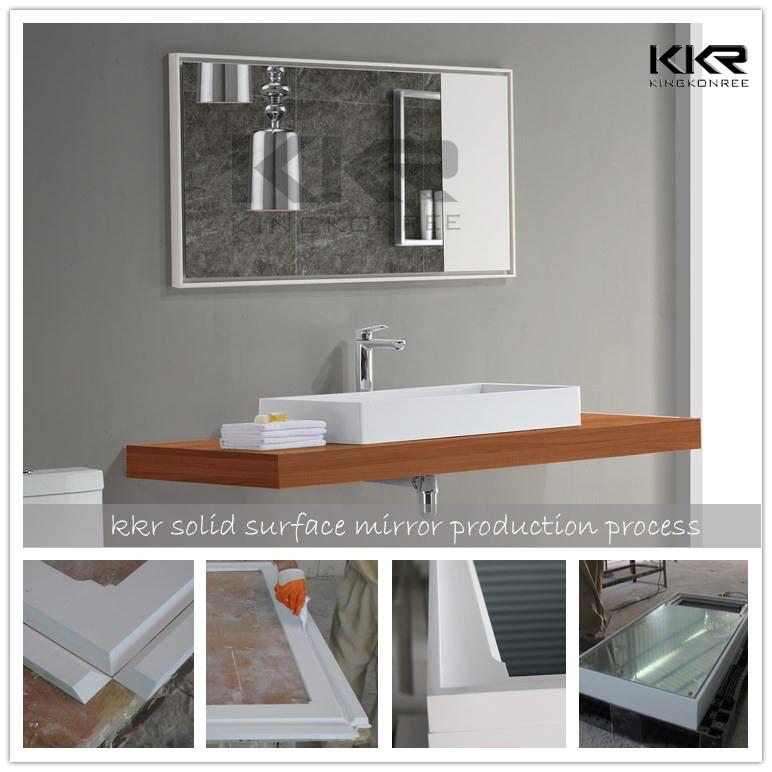 Cercle surface solide pierre cadre salle de bains miroir comme ...