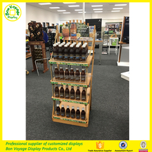 Attactive design beverage wooden flooring display stand rack with ropes
