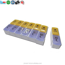 JM-PB68 china factory Free Sample Round Weekly 7 Day Plastic Pill Box 28 30 Day Monthly Pill Box Organizer
