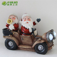 santa claus on car led statue lights Xmas decoration