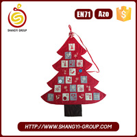 2016 Wholesale felt Christmas advent tree shape calendar for holiday