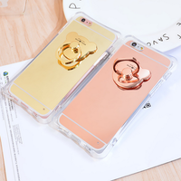 Hot selling fashion mobile bracket cover phone Anti falling finger ring stand holder case for iphone 6 6s plus