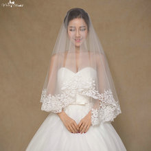 LZP061 Simple One Layer Lace Veil Wedding Off White Wedding Veils