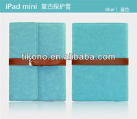 Business man style Folio Stand Holder Leather case for ipad mini with belt