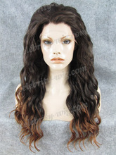 Wholesale Long Wave Hot Sale Ombre Brown Mixed Blonde Heat Resistant Synthetic Lace Front Wigs