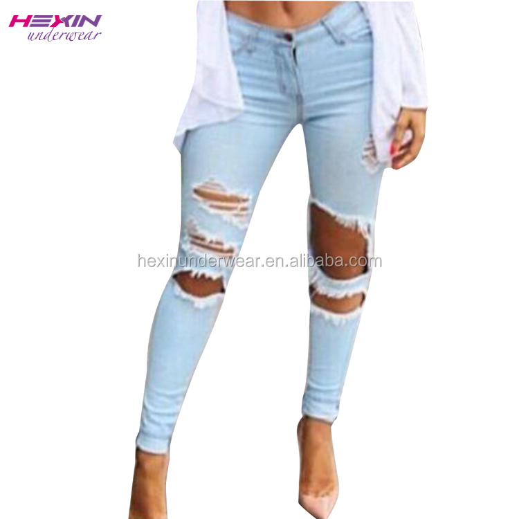 Pencil Pants Black Washed Jeans Plus Size Ripped Jeans for Women