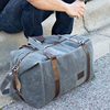 Big Waterproof Canvas Travel Bag With Leather Trim For Mens