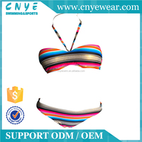 OEM Shiny Pink Stripe Fast Delivery Bikini Girls Swimwear Hot Sexy
