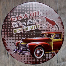 Gas Oil Filling Station Vintage Embossed Metal Tin Sign Nostalgic Art Poster Retro Plaque for bar pub home restuarant decor