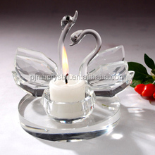 Hot sale Swan shape glass candle jar holder with color tea light crystal swan centerpieces MH-TE0015