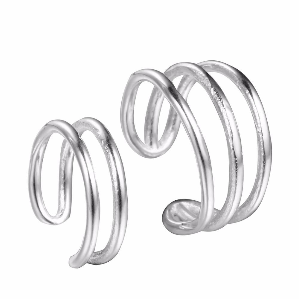 QIMING Silver 925 Small Clip-on Earrings Simple Design Vintage Punk Style Double Cuff Fahion Clip Earrings For Women No Piercing