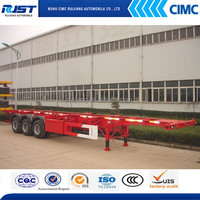 China truck trailer supplier 3 axle 40ft skeleton container semi trailer for sale