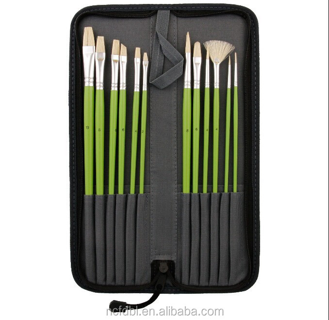 High quality Professional Wooden Handle Oil Paint Brush Set for artist Bristle paint brush