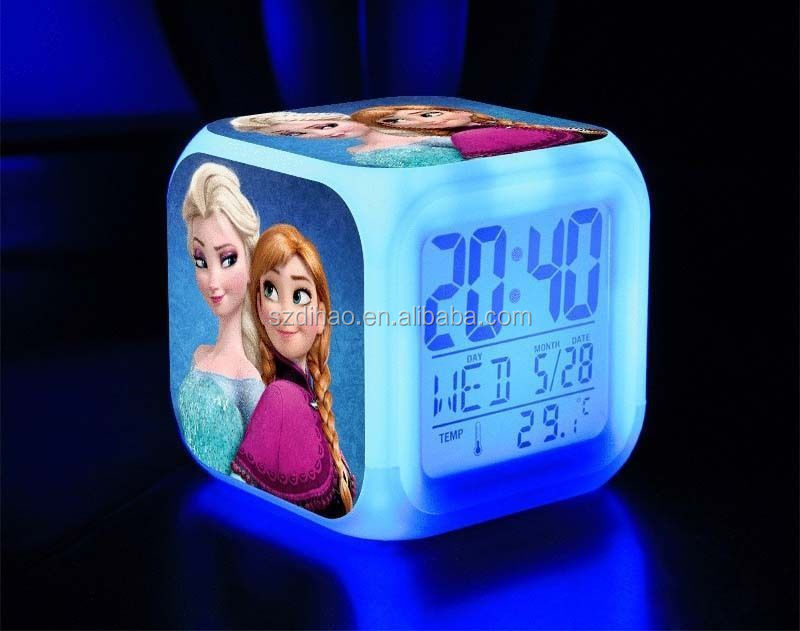 DIHAO Glowing Led Color Change Digital Alarm Clock 7 LED Color Digital alarm clock +thermometer+calendar