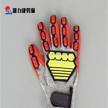 Puncture resistant polyester mechanical outdoor safety work gloves