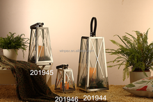 Contemporary Style 3pcs Assorted Size Silver Sleek Stainless Steel Lanterns With Leather Handles