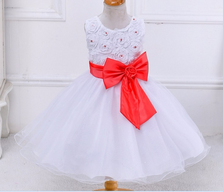 2017 Girl roses princess skirt sleeveless dress flower tulips wedding dress