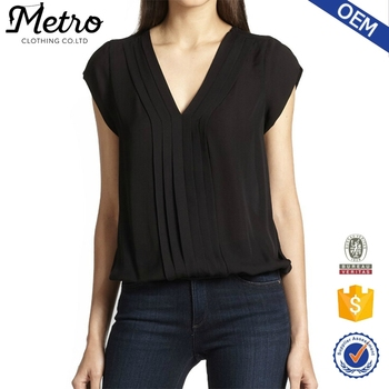 custom pleated front V-neck satin design blouse