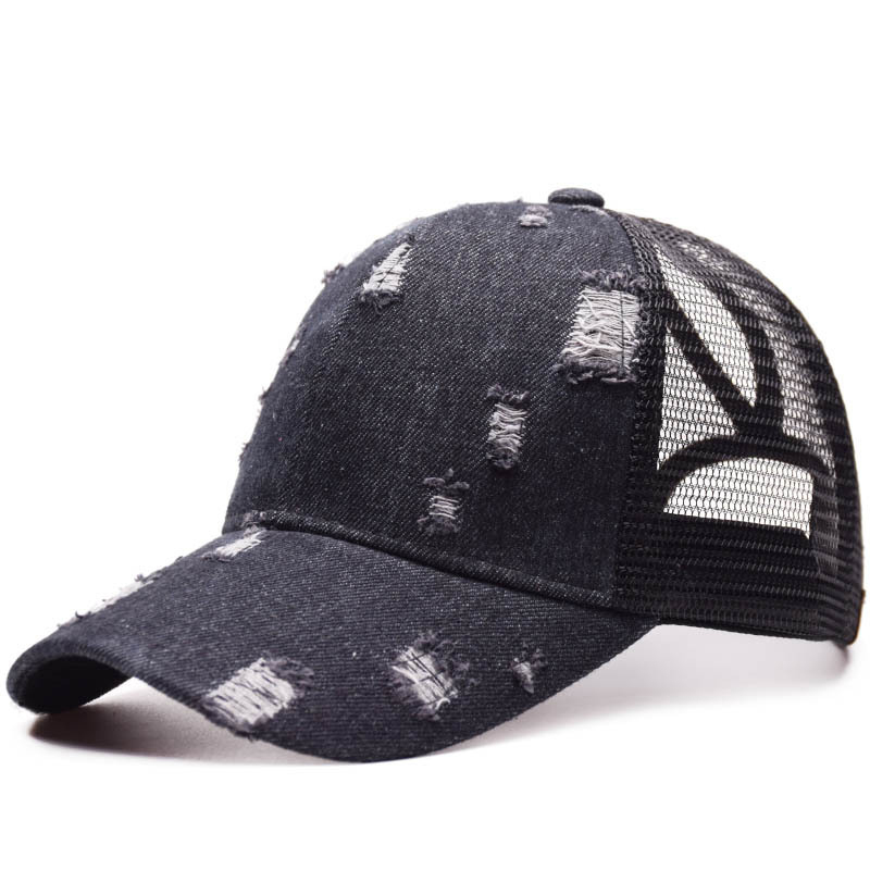 KM-W0110 Plain Denim Vintage Cheap trucker Mesh ponytail Baseball <strong>Caps</strong>
