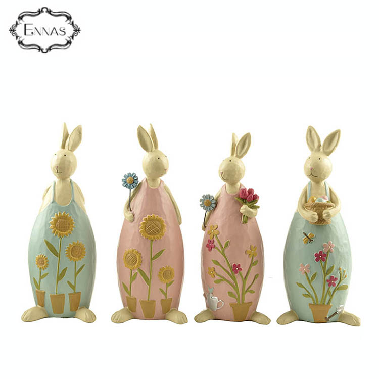 Modern design rabbit statues holiday event resin art decoration