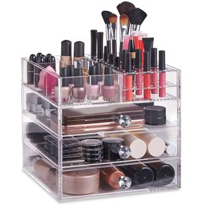 Beautiful 4 tier Clear Acrylic Cosmetic Makeup Cube Organizer with drawers
