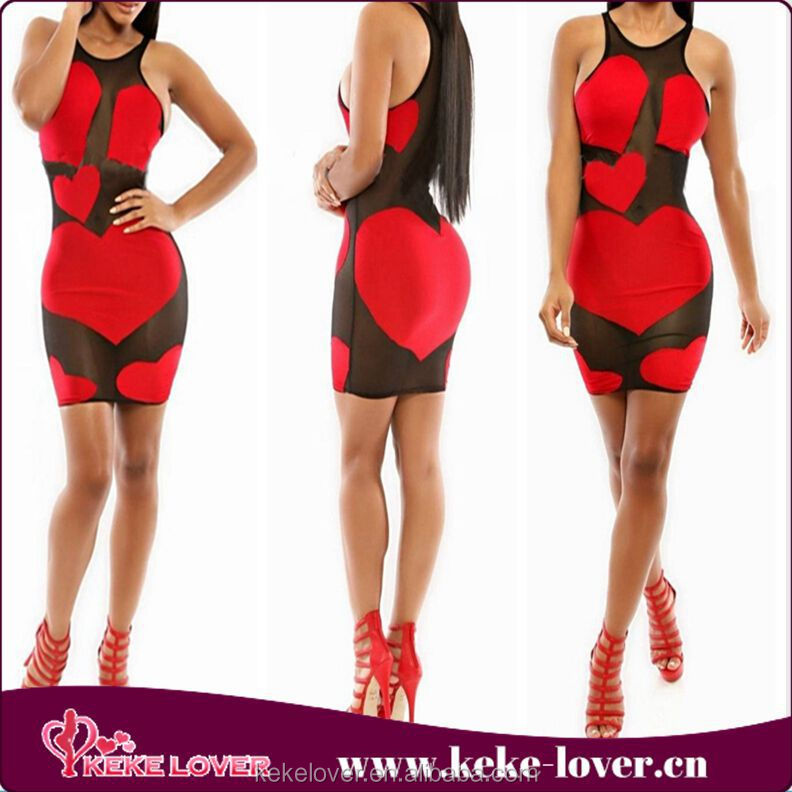 KF651 New arrival black and red heart mesh patchwork women sexy bodycon dress designer one piece party dress