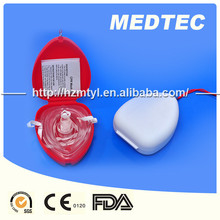 Disposible hangzhou medtec CPR mask red color 100% PVC safe medical first aid devices hospital patient using
