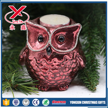 Wholesale decorative cheap owl shape glass candle holders