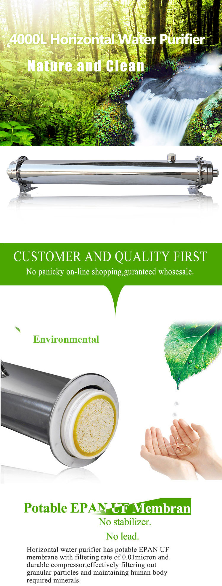 Domestic Dringking 4000L Ro Water Filter Purifier System