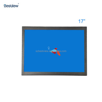 Metal case 17 inch TFT industrial touch screen lcd monitor with BNC