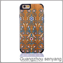 Wood with Plastic Coloured Drawing or Pattern Wooden Case for iPhone 6
