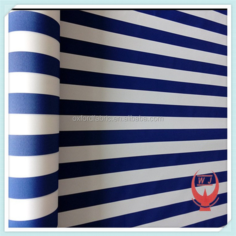 100 polyester white and blue stripe yarn dyed fabric awning fabric