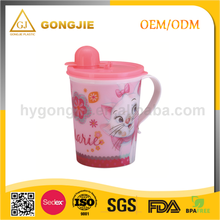 Kids reusable cartoon handle children drinking cup, plastic cup with straw