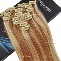 "Beauties Factory 20"" Clip-in Straight Remy Human Hair Extensions 70g #10/20 Light Ash Brown / Dark Ash Blonde"
