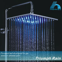 led bathroom lighted square shower head